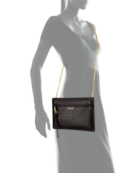 James Mini Laser-Cut Zip Crossbody Bag, Black/Wine