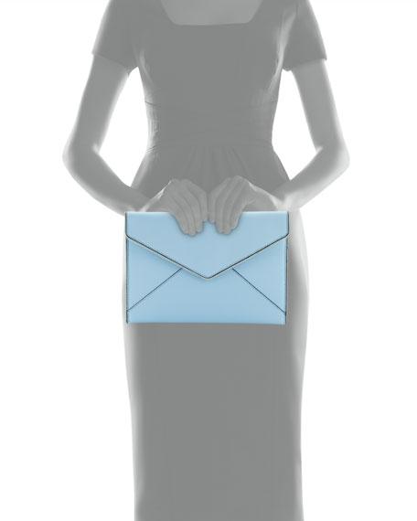 Leo Saffiano Envelope Clutch Bag, Sky