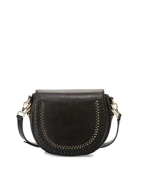 Astor Studded Saddle Bag, Black