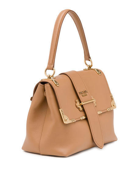 Cahier Medium Half-Flap Shoulder Bag, Medium Camel (Cammello)
