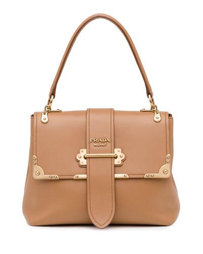 Medium Half-Flap Tote Bag, Medium Camel