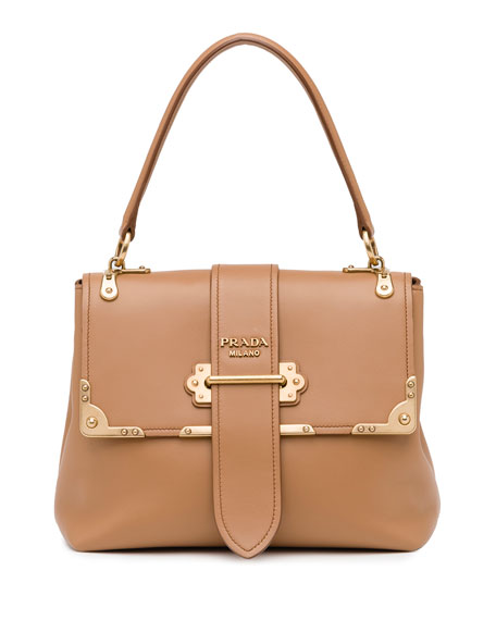 Cahier Medium Half-Flap Shoulder Bag, Medium Camel (Cammello)