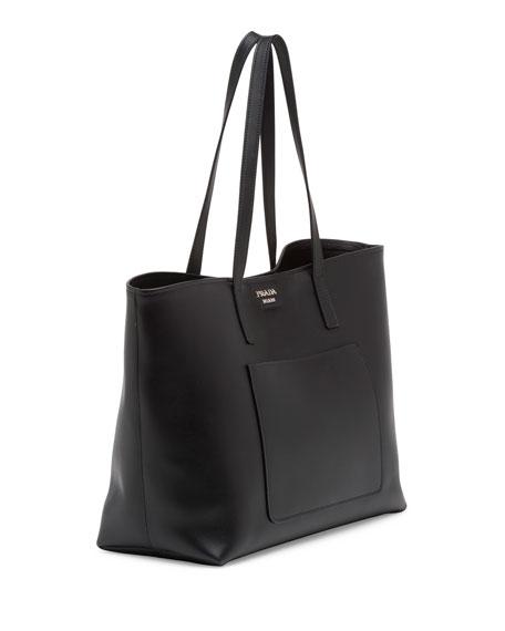Prada Soft Leather Shopper Tote Bag, Black (Nero)