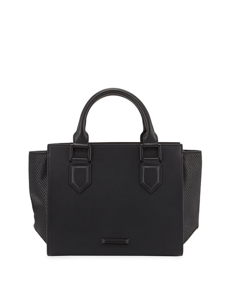 Brook Medium Leather Satchel Bag, Black
