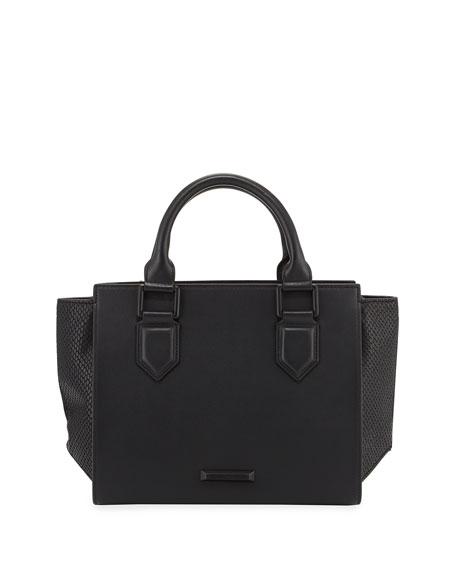 Brook Medium Leather Satchel Bag, Black