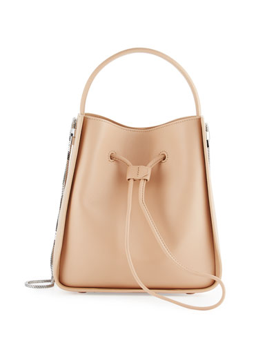 Soleil Small Leather Bucket Bag, Alabaster