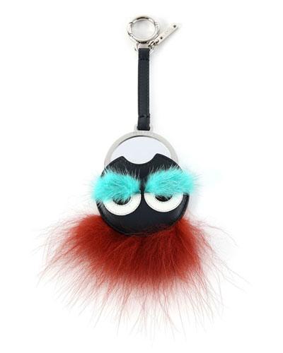 Monster Fur Mirror Charm, Black/Aqua/Brick