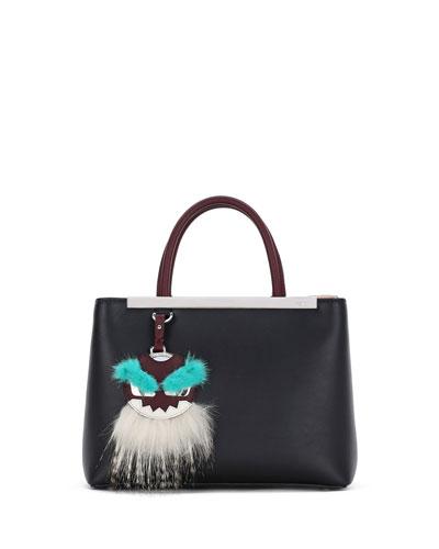 2Jours Petite Monster Mirror Satchel Bag, Black/Bordeaux/Aqua