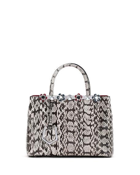 Fendi 2Jours Petite Snakeskin Tote Bag, Gray/White