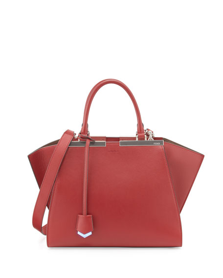 Fendi 3Jours Medium Leather Satchel Bag, Red