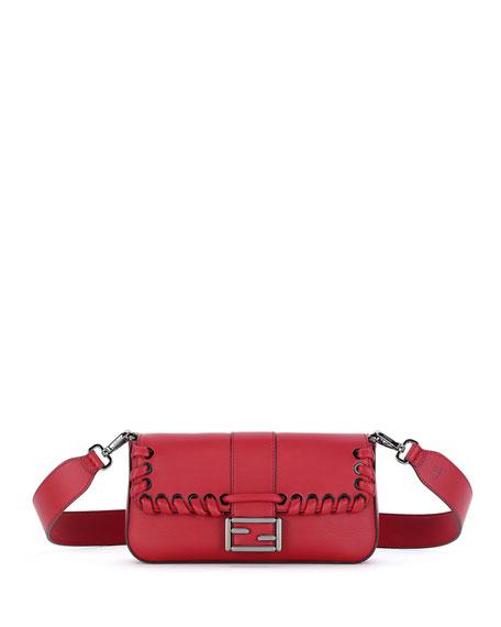 Baguette Whipstitch Leather Shoulder Bag, Red