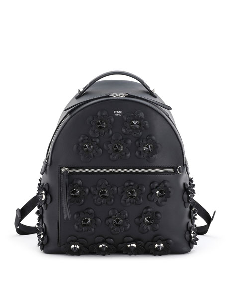 Floral-Appliqué Leather Backpack, Black