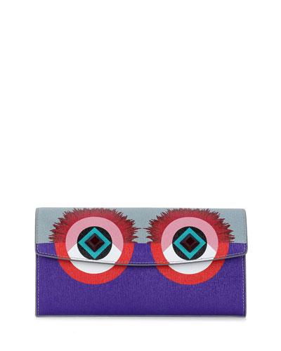 Monster Continental Wallet, Gray/Purple/Royal