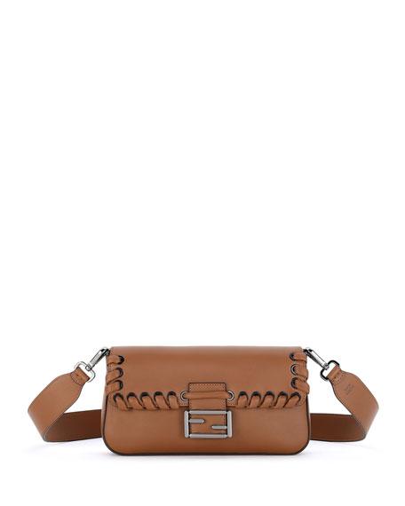 Baguette Whipstitch Leather Shoulder Bag, Black