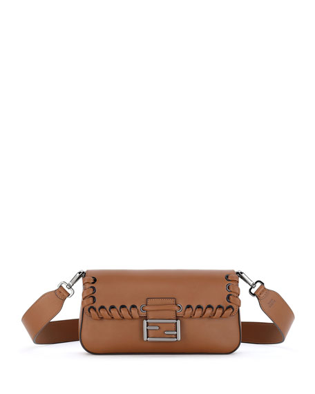 Fendi Baguette Whipstitch Leather Shoulder Bag