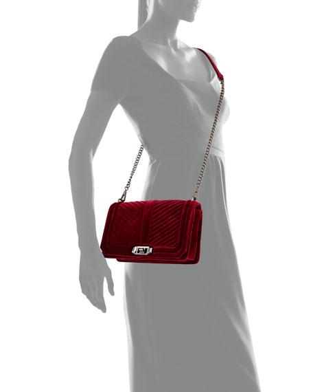 Love Quilted Velvet Crossbody Bag