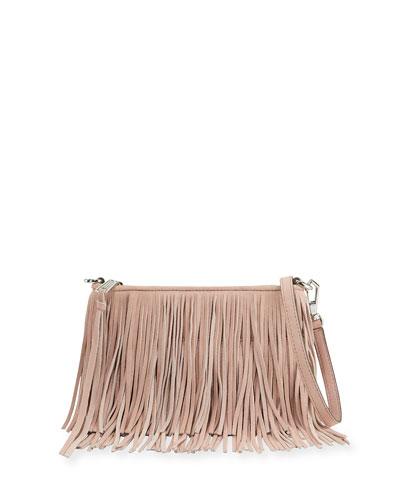 Finn Fringe Suede Crossbody Bag, Vintage Pink