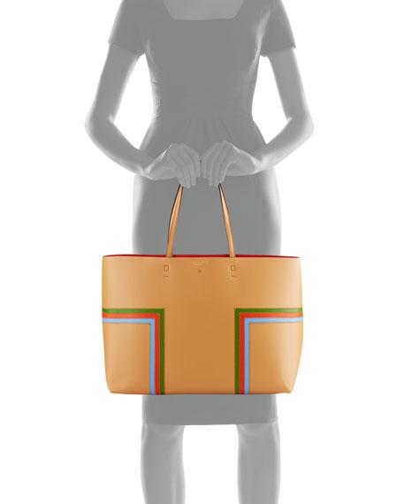 Block-T Striped Leather Tote Bag, Crema