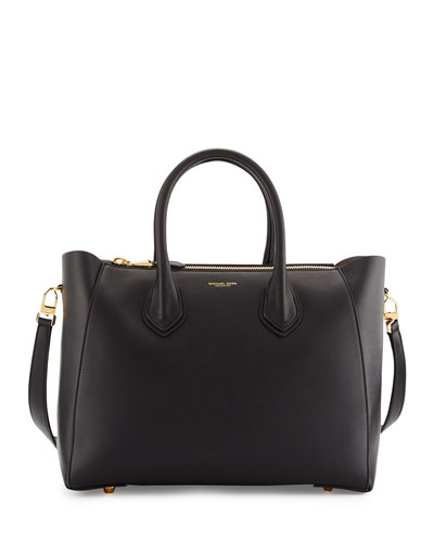 Helena Large Leather Satchel Bag, Black