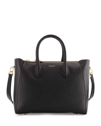 Helena Large Leather Satchel Bag, Black