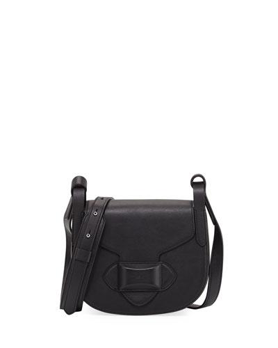 Daria Small Leather Crossbody Bag, Black