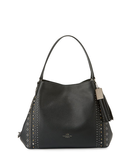 Coach Edie 31 Bandana-Rivets Shoulder Bag, Dark Gunmetal/Black
