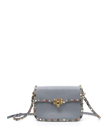 Rockstud Rolling Leather Shoulder Bag, Light Gray