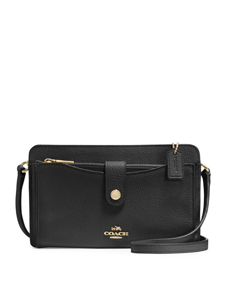 Coach Pop-Up Leather Messenger Bag, Black