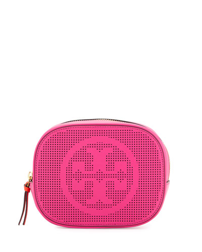 Logo-Perforated Round Cosmetic Bag