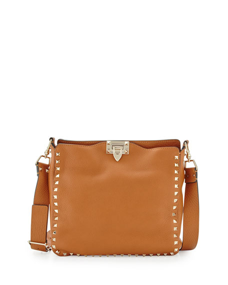 Rockstud Small Flip-Lock Hobo Bag, Cognac