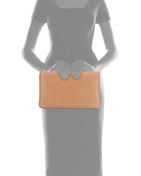 Loubiposh Spiked Clutch Bag, Nude