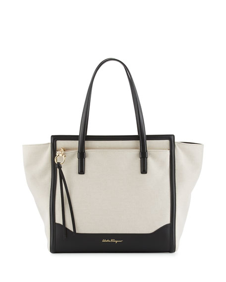 Salvatore Ferragamo Amy Medium Canvas Tote Bag, Naturale/Nero
