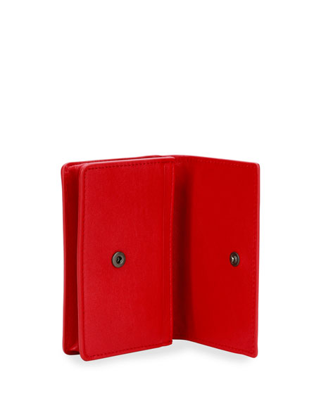 Intrecciato Flap Card Case, Red