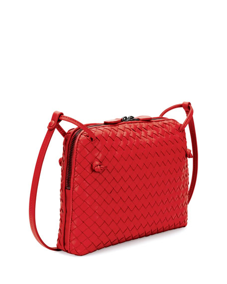 Intrecciato Small Zip Crossbody Bag, Red