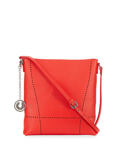 Nira Laser-Cut Leather Crossbody Bag, Red