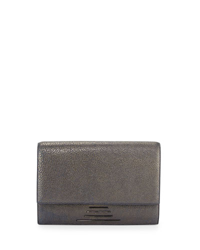 Hutton Medium Leather Clutch Bag, Mirage