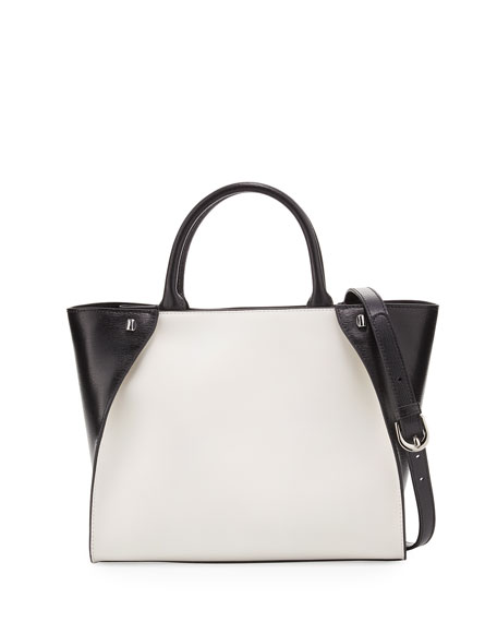 Charles Jourdan Orla Colorblock Leather Tote Bag, White/Black