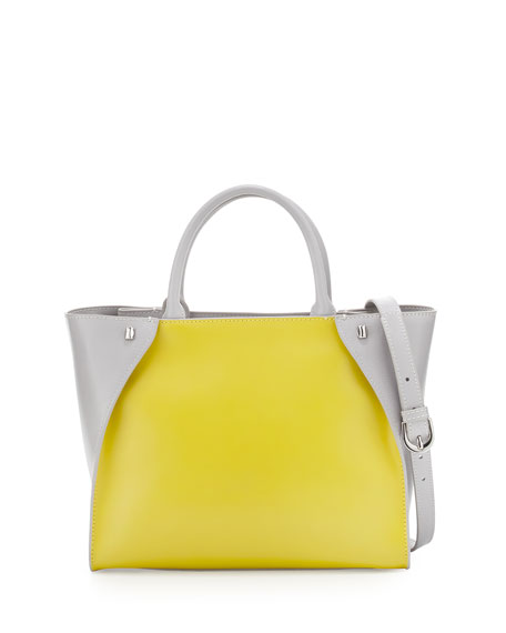 Charles JourdanOrla Colorblock Leather Tote Bag, Yellow/Gray