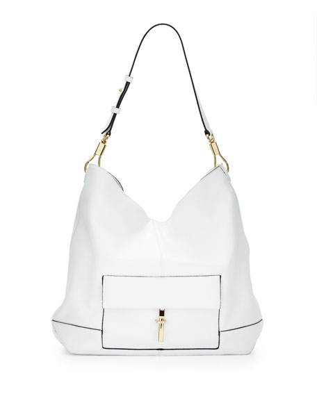 Elizabeth and James Jack Leather Hobo Bag, White
