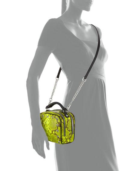 Frankie Studded Leather Crossbody Bag, Yellow Snake