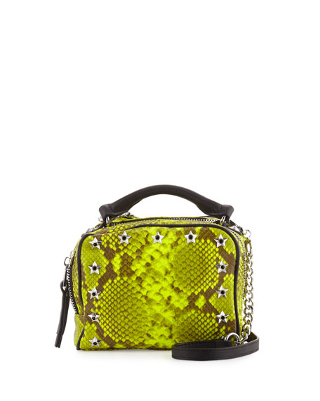 Ash Frankie Studded Leather Crossbody Bag, Yellow Snake