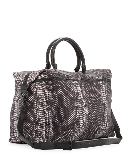 Snake-Print Expandable Weekender Bag, Blush Snake/Black