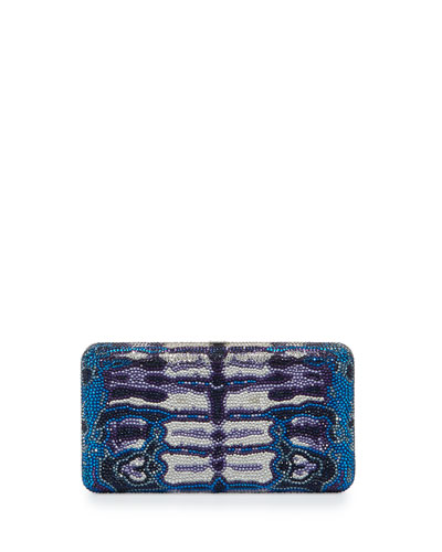 Tabanan Crystal Evening Clutch Bag, Capri Blue/Multi