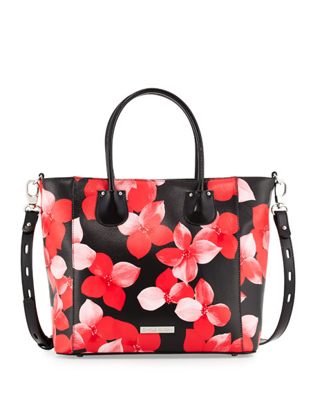 Charles Jourdan Petra Floral-Print Leather Tote Bag, Red/Black