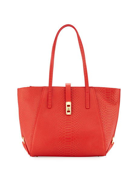 Charles JourdanOndine Snake-Embossed Leather Tote Bag, Red