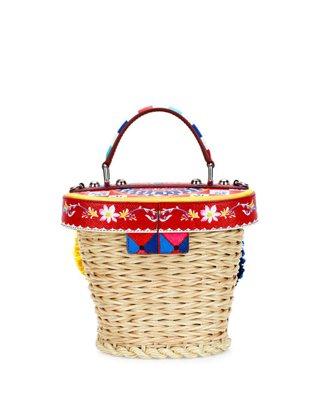 Small Straw Flower Top-Handle Crossbody Bag, Multi