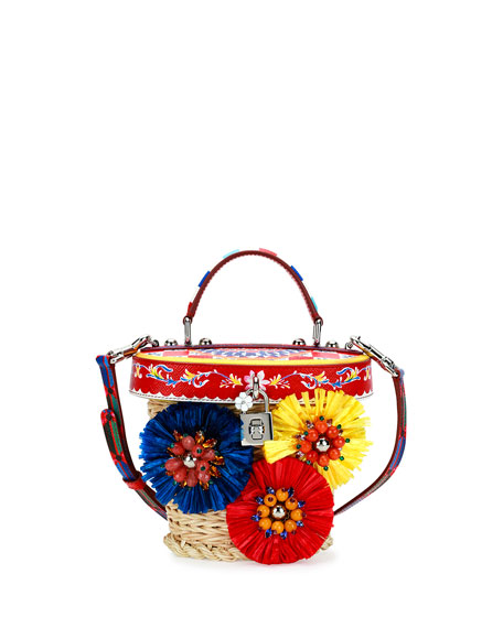 Dolce & Gabbana Small Straw Flower Top-Handle Crossbody