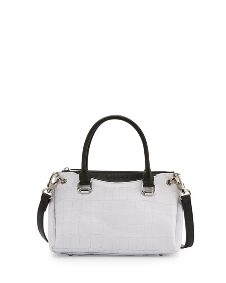 Paige Leather Small Structured Tote Bag, White