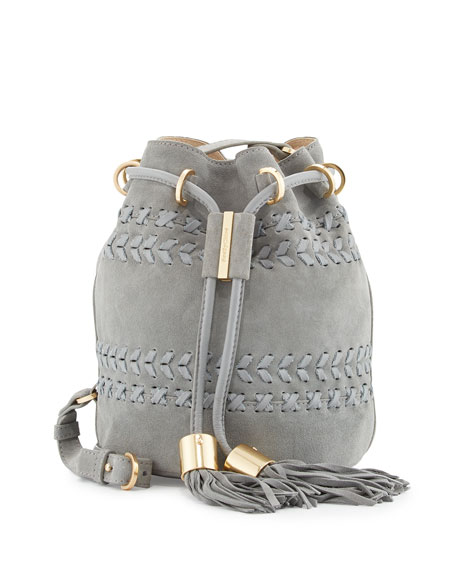 Vicki Small Suede Bucket Bag, Skylight