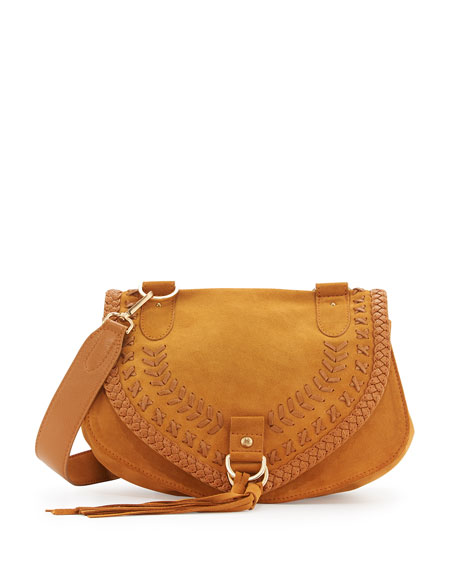 Collins Whipstitch Suede Shoulder Bag, Passito